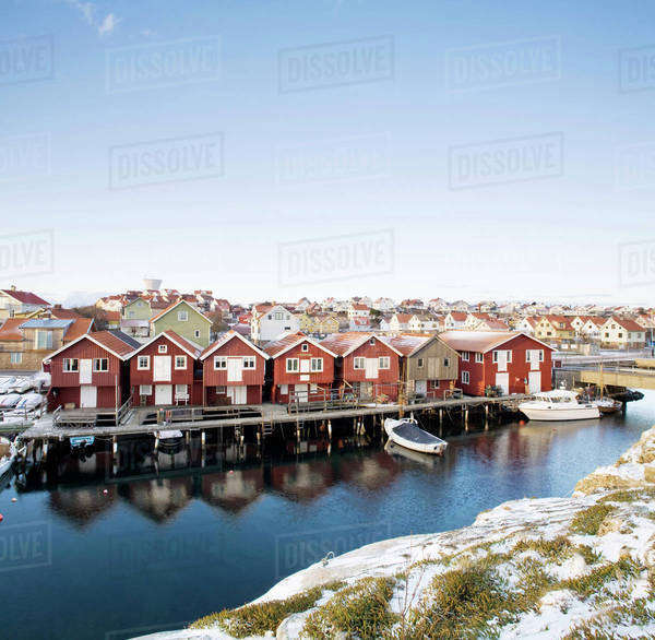 Traditional houses by sea, Bohuslan, Sweden Royalty-free stock photo
