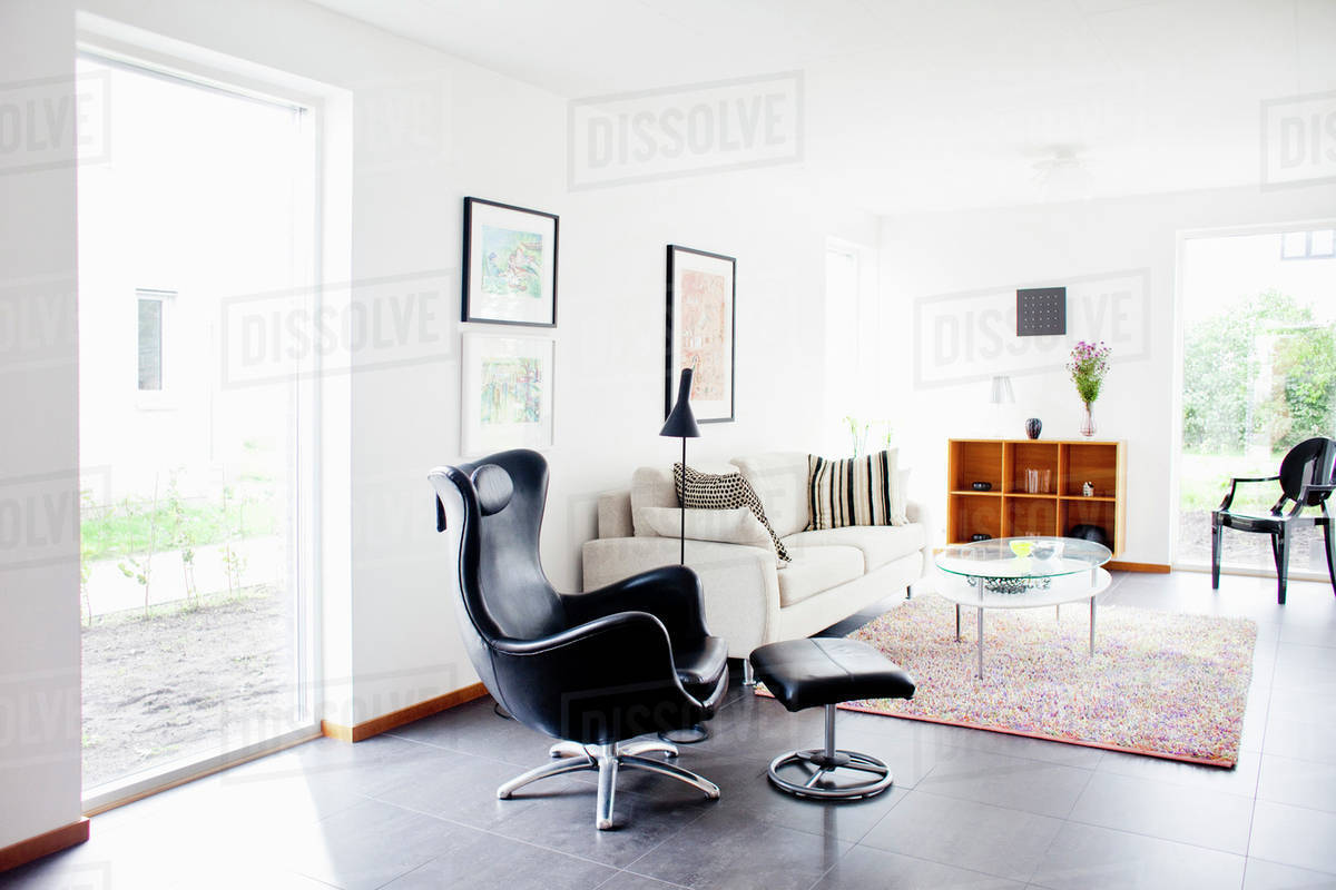 Interior Of Living Room Modern Armchair And Ottoman D929 13 834