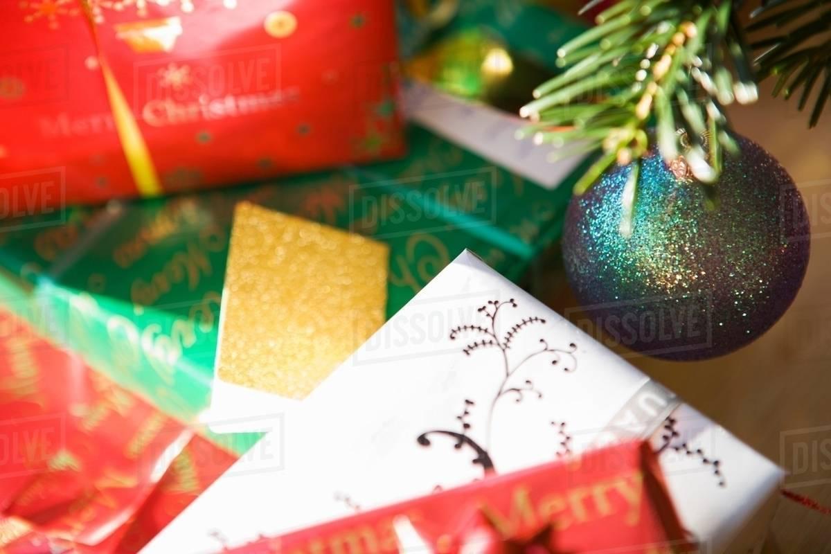 Christmas Presents Under Tree Stock Photo Dissolve