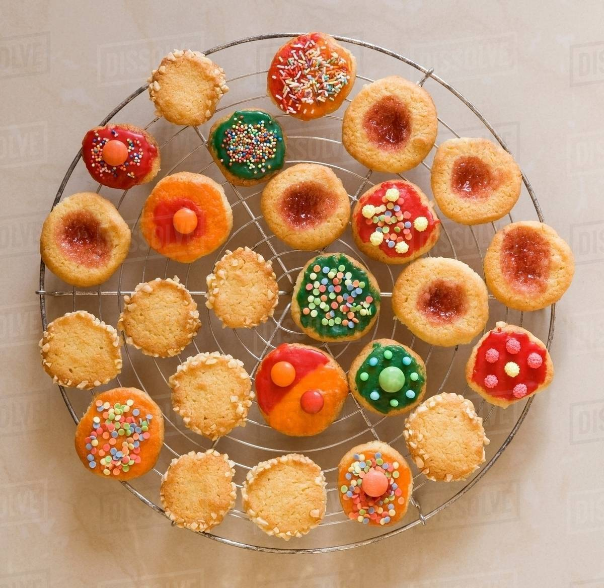 Round Colourful Christmas Cookies Stock Photo