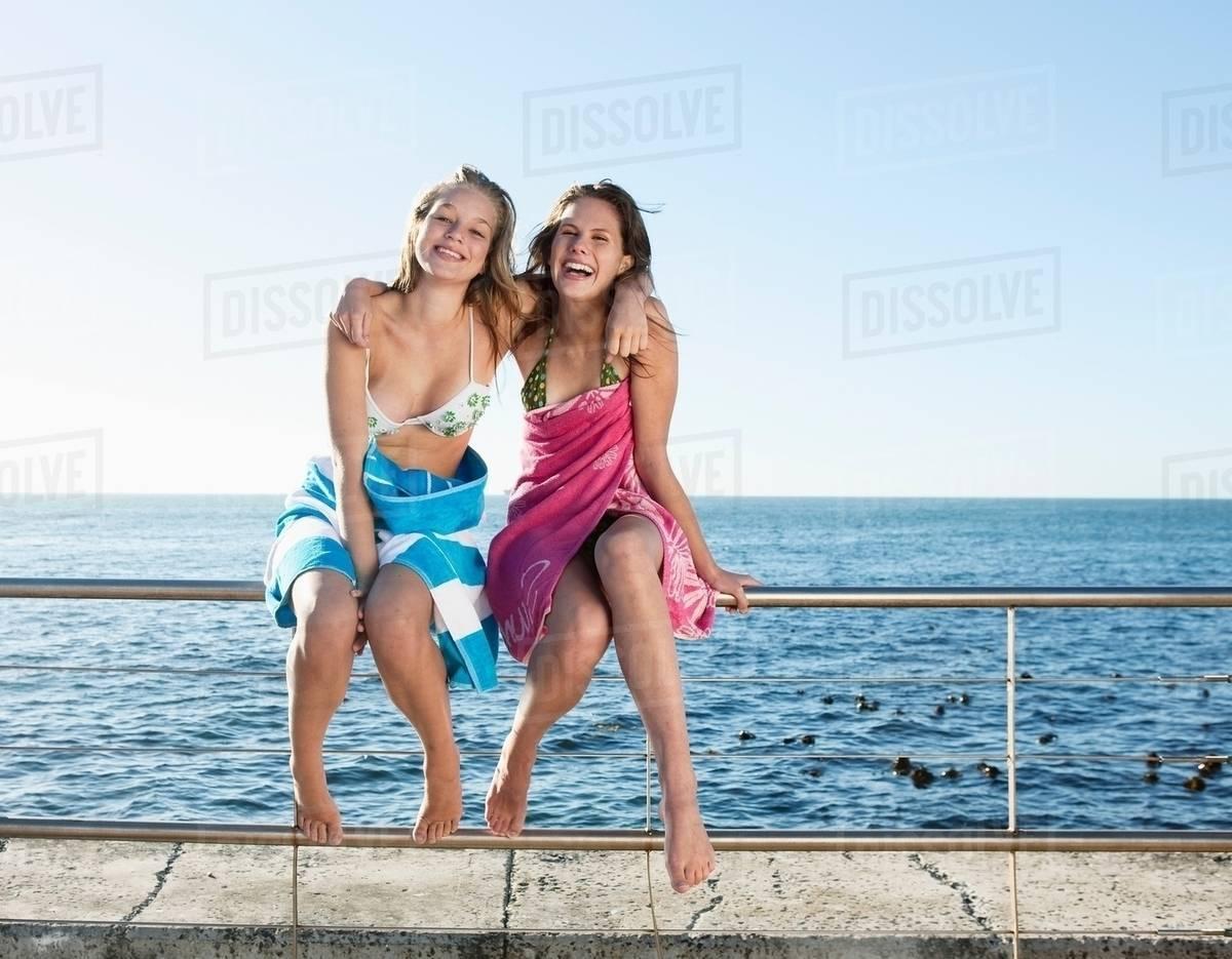 Teens in towels