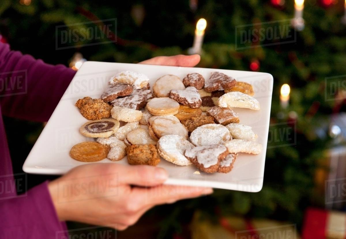 Plate Of Homemade Christmas Biscuits Stock Photo