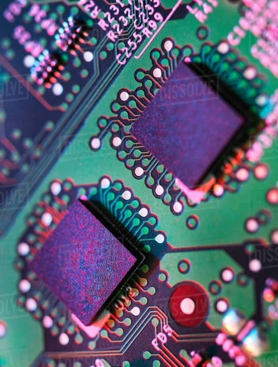 Close Up Detail Of Green And Purple Computer Circuit Board Stock Closeup Electronic Royalty Free Photography