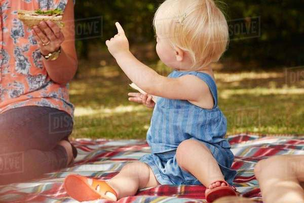 Woman and baby girl sitting on picnic blanket having picnic Royalty-free stock photo