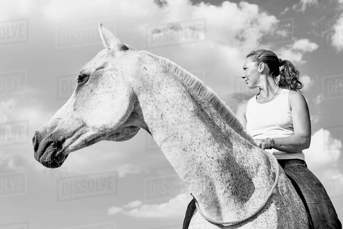 B W Portrait Of Woman Riding Grey Horse Against Sky Stock Photo Dissolve