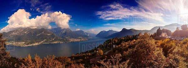 Panoramic landscape of mountains and lake, Civenna, Lombardy, Italy Royalty-free stock photo