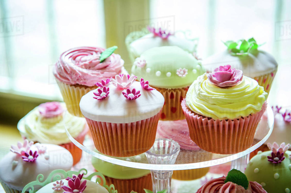 Variety Of Pretty Cupcakes On Cakestand Stock Photo