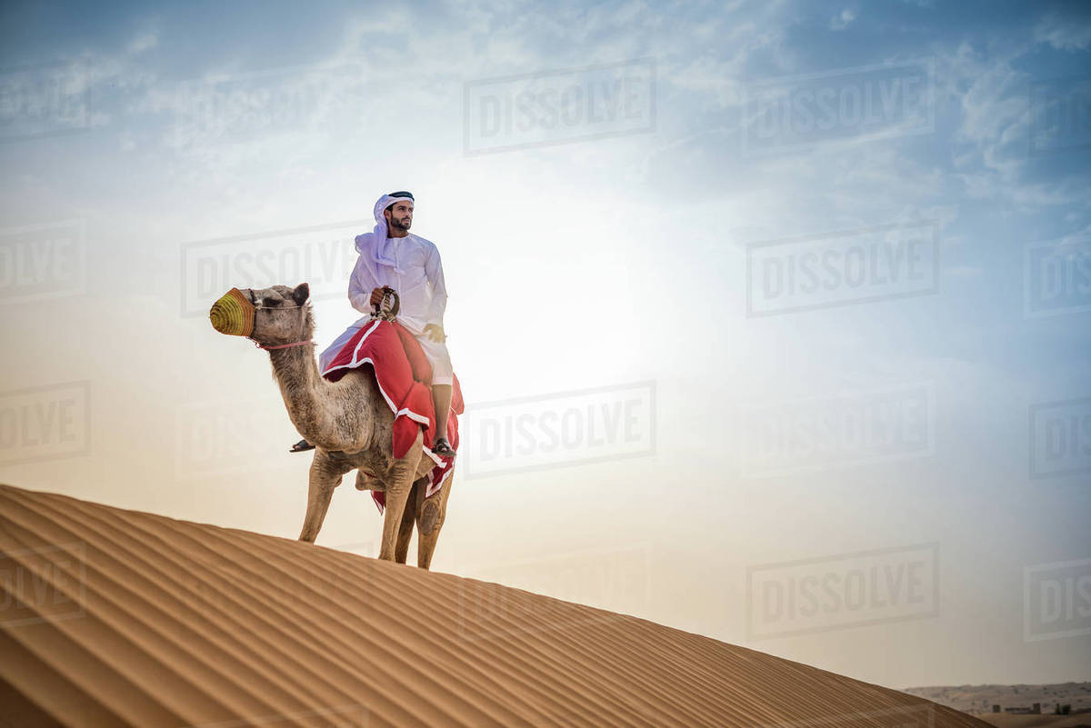 Man wearing traditional middle eastern clothes riding camel in desert,  Dubai, United Arab Emirates stock photo
