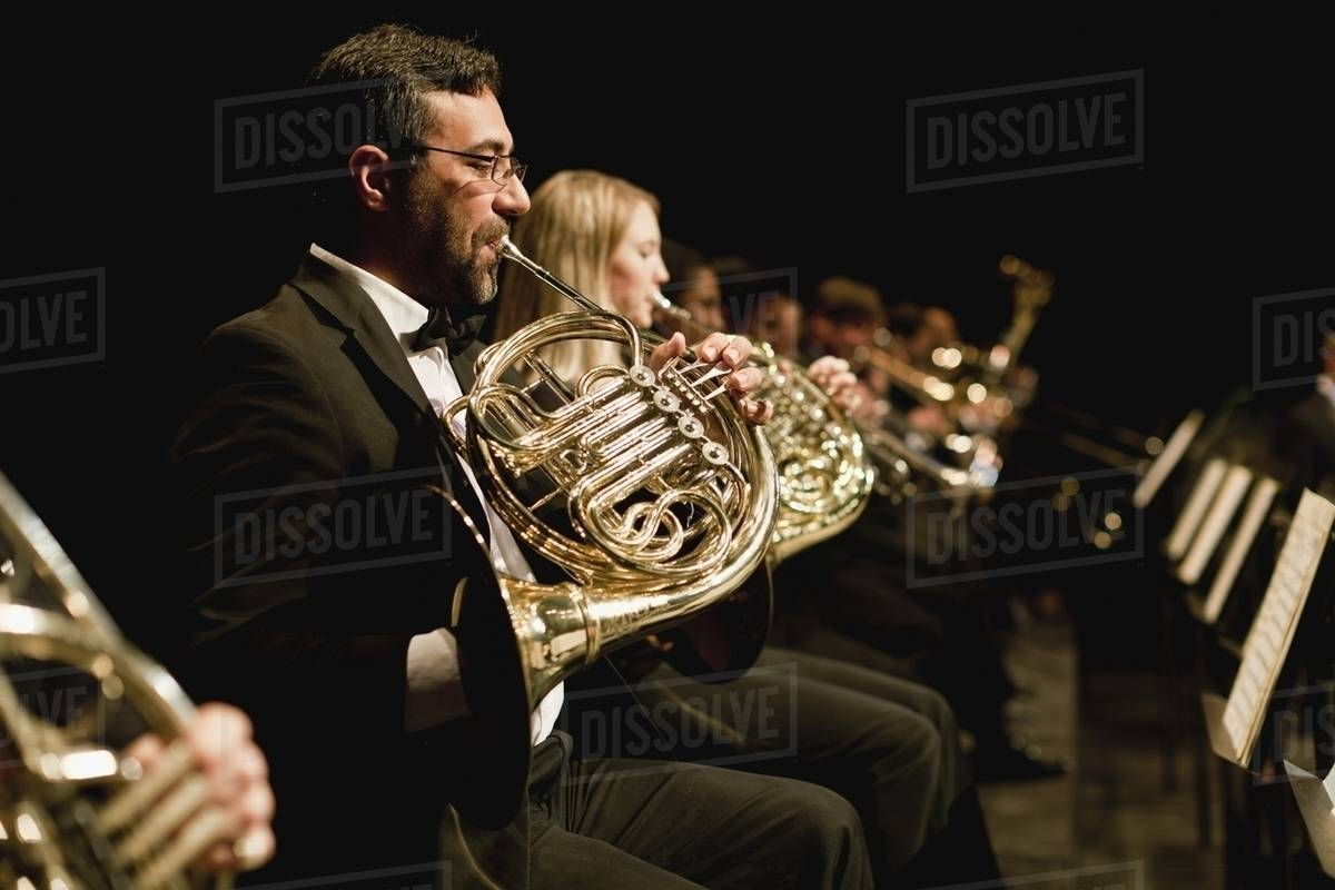French horn players in orchestra - Stock Photo - Dissolve