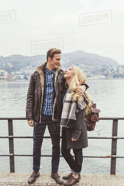 Romantic young couple at Lake Como, Italy Royalty-free stock photo