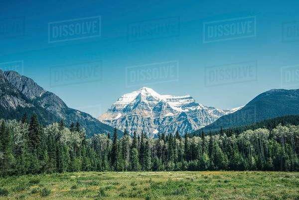 View of snow capped mount Robson, Canadian Rockies, British Columbia, Canada Royalty-free stock photo