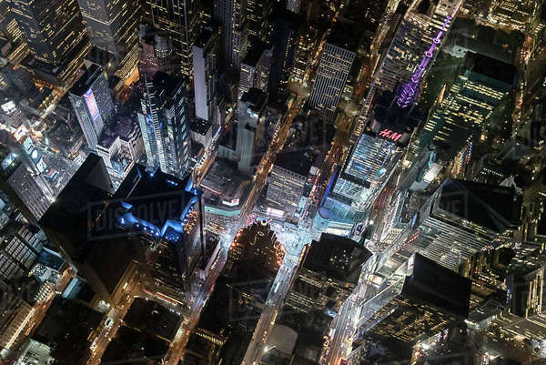 Aerial view from helicopter of Midtown, Times Square, New York, USA Royalty-free stock photo