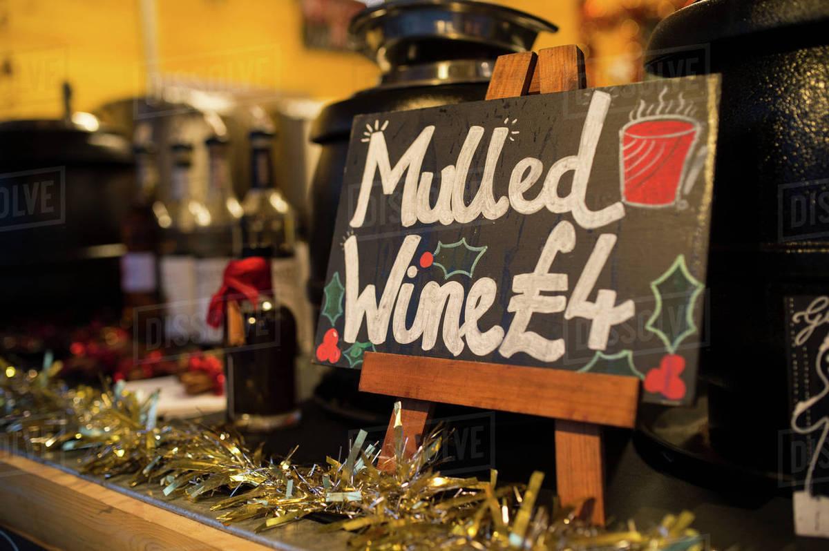 Mulled Wine Christmas Market.Mulled Wine Christmas Market Stall South Bank London Uk Stock Photo