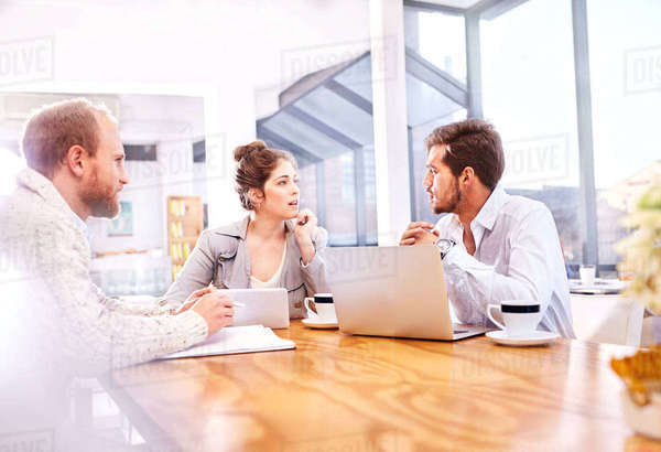 Young businessmen and woman having team meeting making in office Royalty-free stock photo