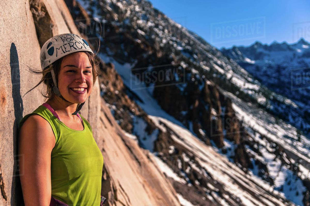 Woman rock climbing, Cardinal Pinnacle, Bishop, California, USA Royalty-free stock photo