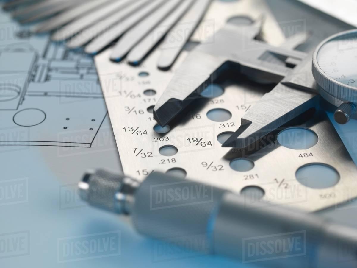 Engineering design screw gauge feeler gauge and micrometer on engineering design screw gauge feeler gauge and micrometer on blueprint malvernweather Images