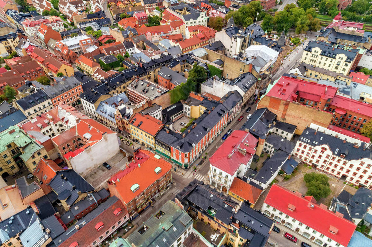 Aerial view of the colourful centre of Lund City, Malmoe in Sweden. Royalty-free stock photo