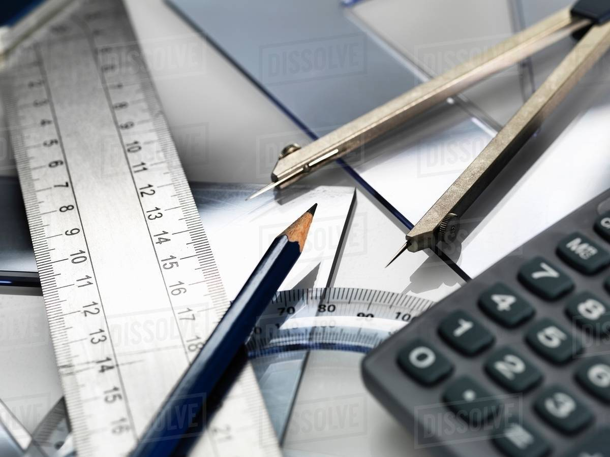 Drawing equipment, sitting on engineering technical drawing - Stock ...