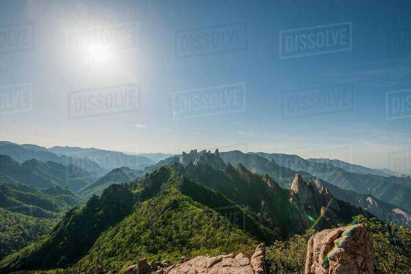 Elevated view of rugged mountain ridge, Seoraksan National park, Gangwon, South Korea Royalty-free stock photo