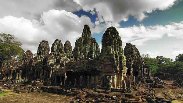 Historical bayon temple with running clouds timelapse loop Royalty-free stock video