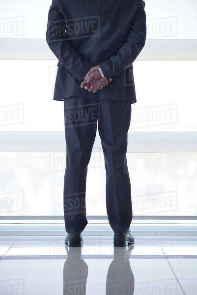 Businessman looking out high rise window at view of city below, rear view Royalty-free stock photo