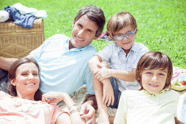 Family relaxing together outdoors Royalty-free stock photo