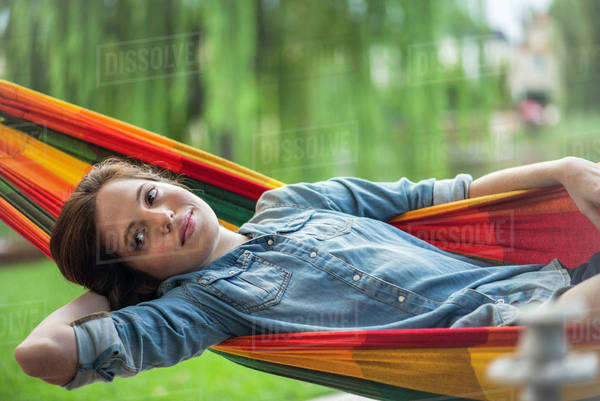 Woman relaxing in hammock Royalty-free stock photo