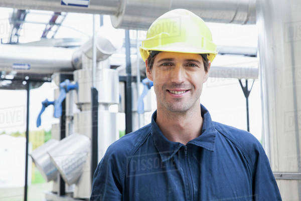 Engineer at industrial plant, portrait Royalty-free stock photo