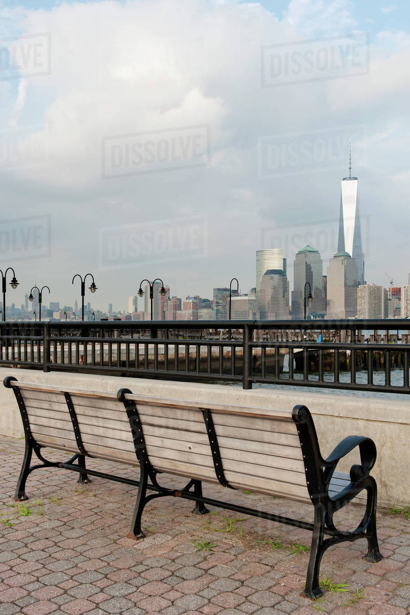 Park Bench With Scenic View Of Lower Manhattan New York City New