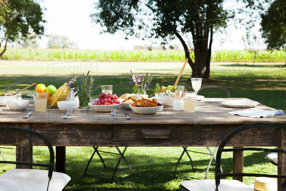 Table Set For Outdoor Meal