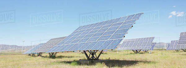 Solar panels in rural landscape Royalty-free stock photo