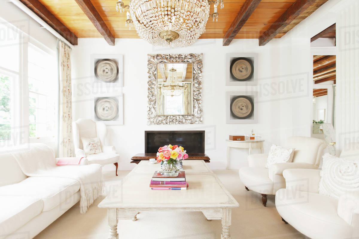 Luxury living room with chandelier - Stock Photo - Dissolve