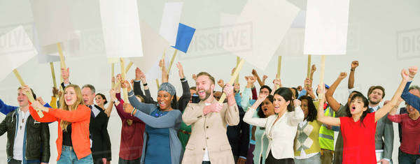 Protesters waving picket signs Royalty-free stock photo