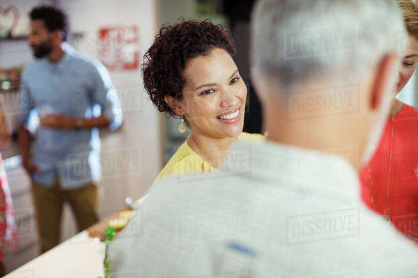 Woman smiling at party Royalty-free stock photo