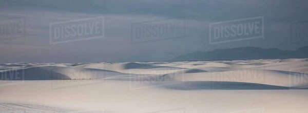 Panoramic of tranquil white sand dune, White Sands, New Mexico, United States Royalty-free stock photo