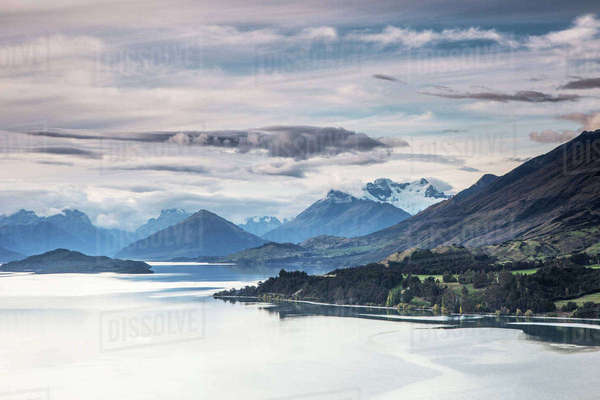 Scenic view of lake and mountains, Glenorchy, South Island New Zealand Royalty-free stock photo