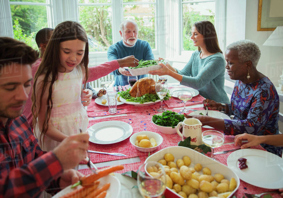 Admirable Multi Generation Family Eating At Christmas Dinner Table Stock Photo Download Free Architecture Designs Embacsunscenecom
