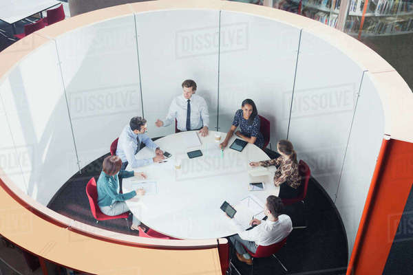 Business people meeting in round open plan conference room Royalty-free stock photo