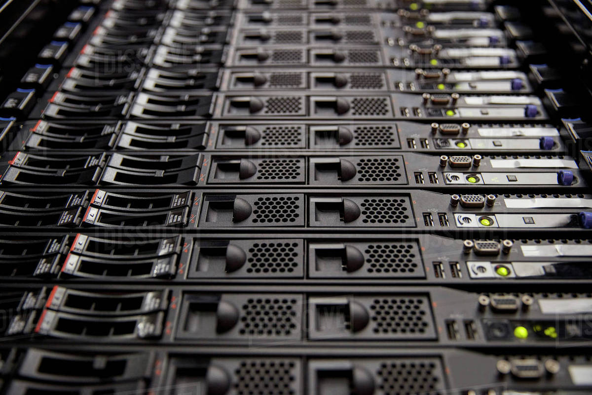 Close up server room panel stock photo