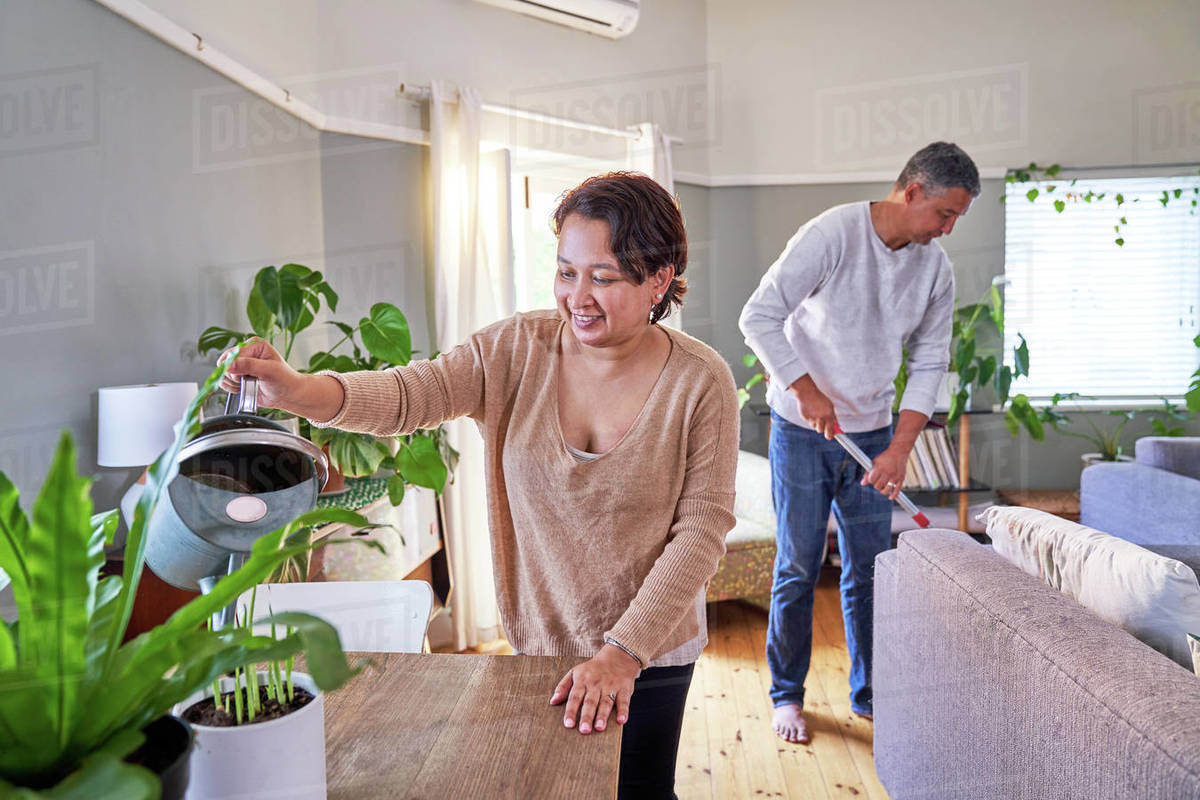 Mature couple watering houseplants and cleaning living room Royalty-free stock photo