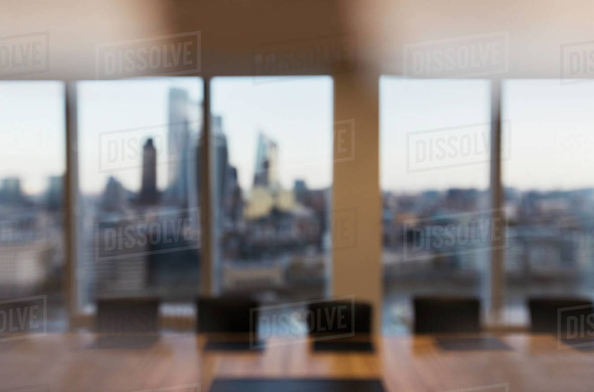 Modern business conference room overlooking city Royalty-free stock photo