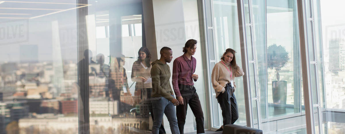 Business people walking in urban office Royalty-free stock photo