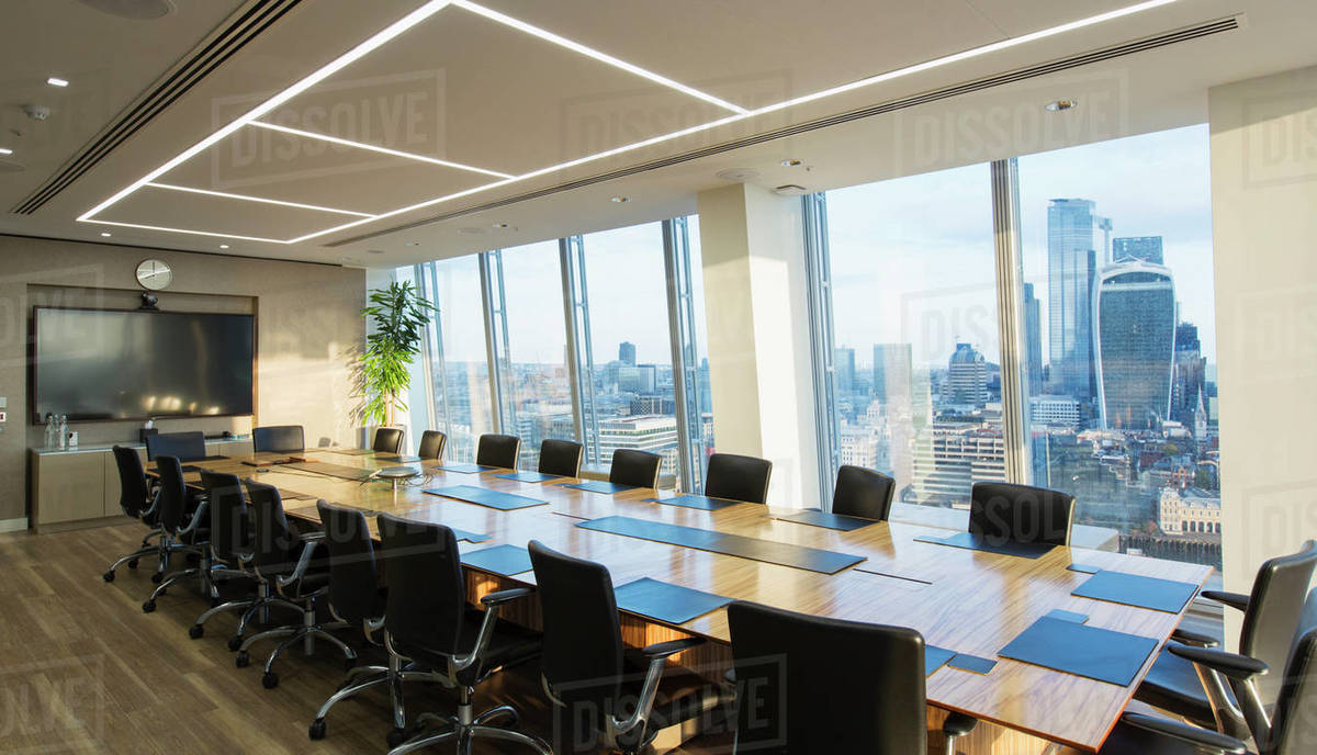 Long modern conference room table overlooking city Royalty-free stock photo