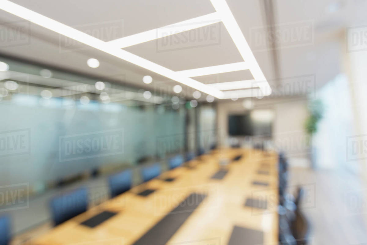 Long table in modern business conference room Royalty-free stock photo
