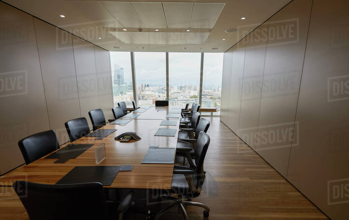Long wood conference room table Royalty-free stock photo