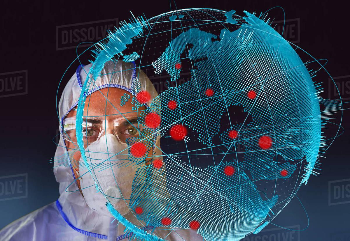 Portrait scientist in flu mask behind global coronavirus pandemic Royalty-free stock photo