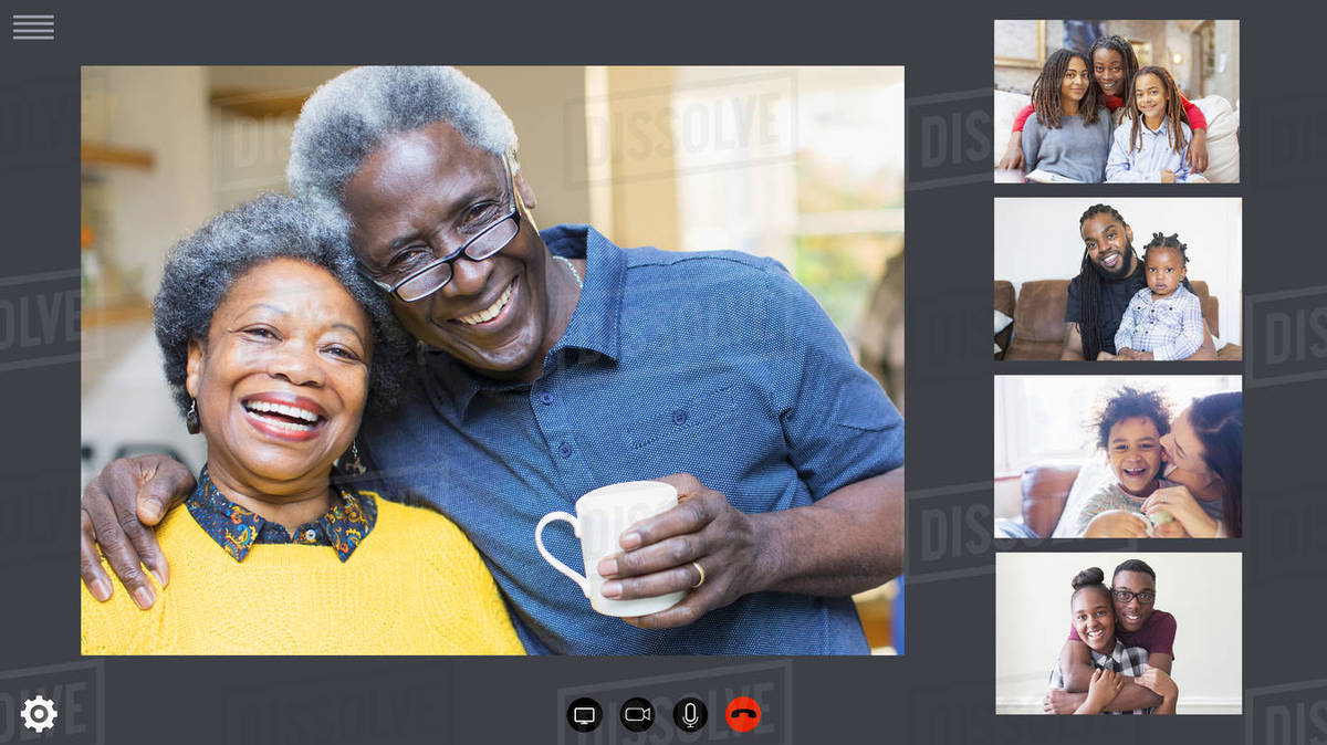 Happy family video conferencing during COVID-19 quarantine Royalty-free stock photo