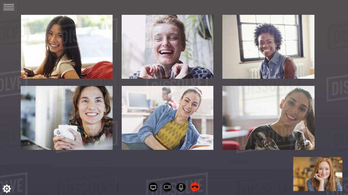 Happy women friends video conferencing during COVID-19 quarantine Royalty-free stock photo