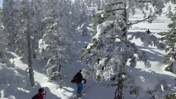 Drone shot of skiers trudging through snow Royalty-free stock video