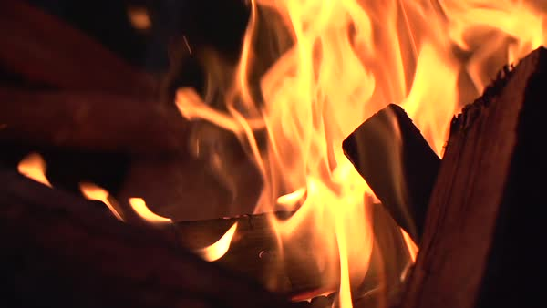 Slow motion shot of burning firewood Royalty-free stock video